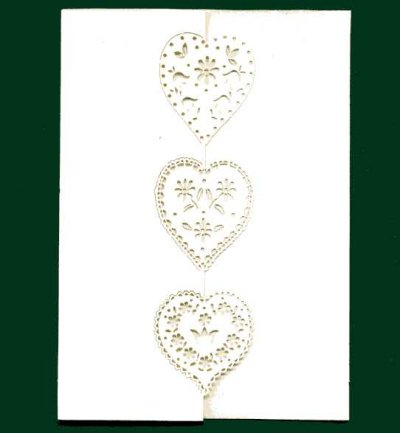 4 x 6 Laser Cut Cards & Envelopes - Ivory Hearts x 4
