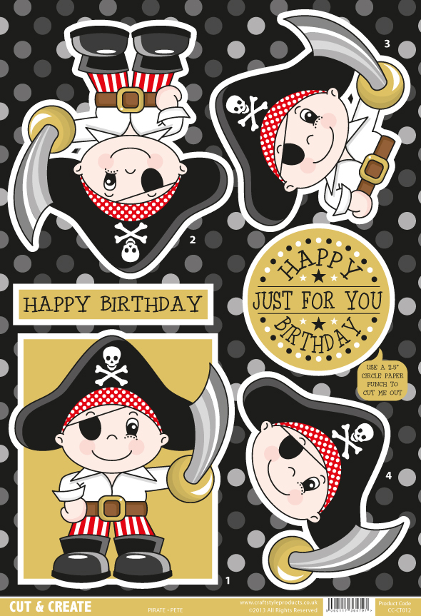 Decoupage Topper Sheet - Pirate Pete